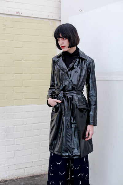 Trench Coat Patent Black