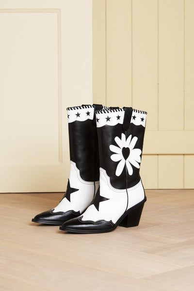 Dolly Black/White Miss Daisy Boots