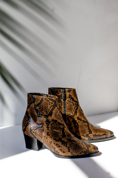 Snake print brown leather ankle boots made in Italy by Portamento for S120 right side