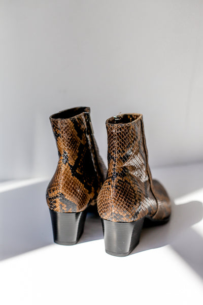 Snake print brown leather ankle boots made in Italy by Portamento for S120 back