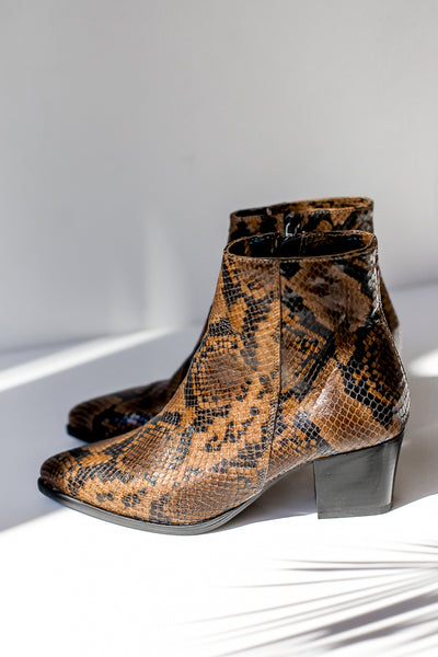 Snake print brown leather ankle boots made in Italy by Portamento for S120 left side