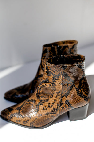 Snake print brown leather ankle boots made in Italy by Portamento for S120  close up