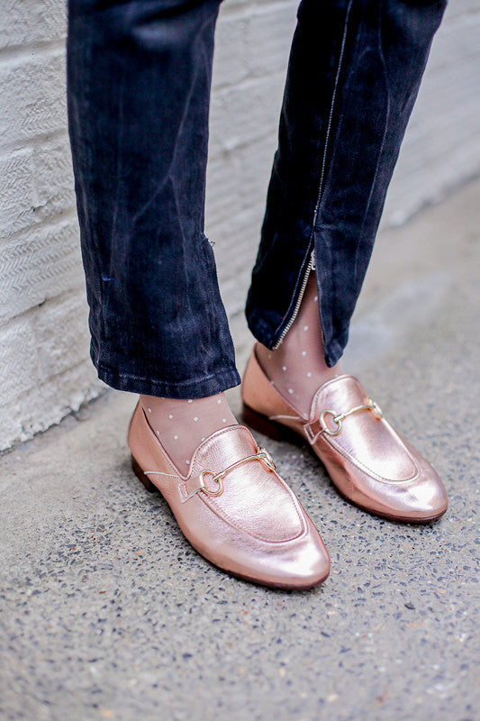 Metallic pink copper loafers by Portamento