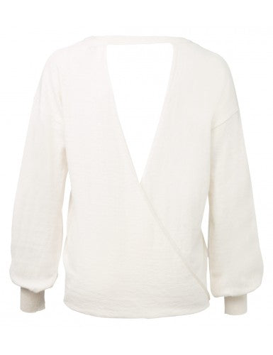off white open back sweater by yaya