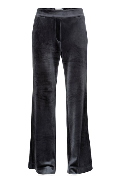 Velvet Wide Leg Blue Trousers