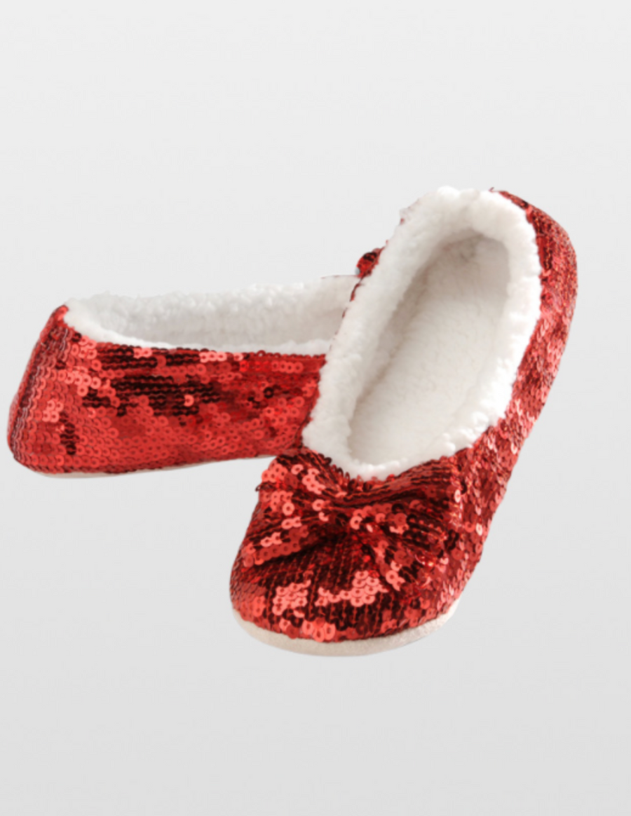Snoozies! Women's Sequin Bow Ballerina Slippers