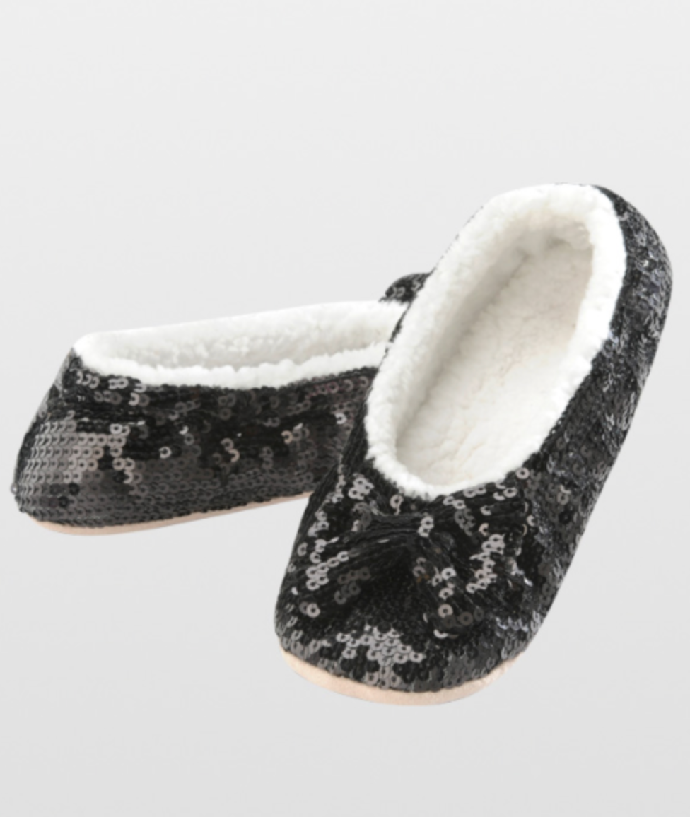 889157fc112 Snoozies! Women s Sequin Bow Ballerina Slippers - Justin Jean