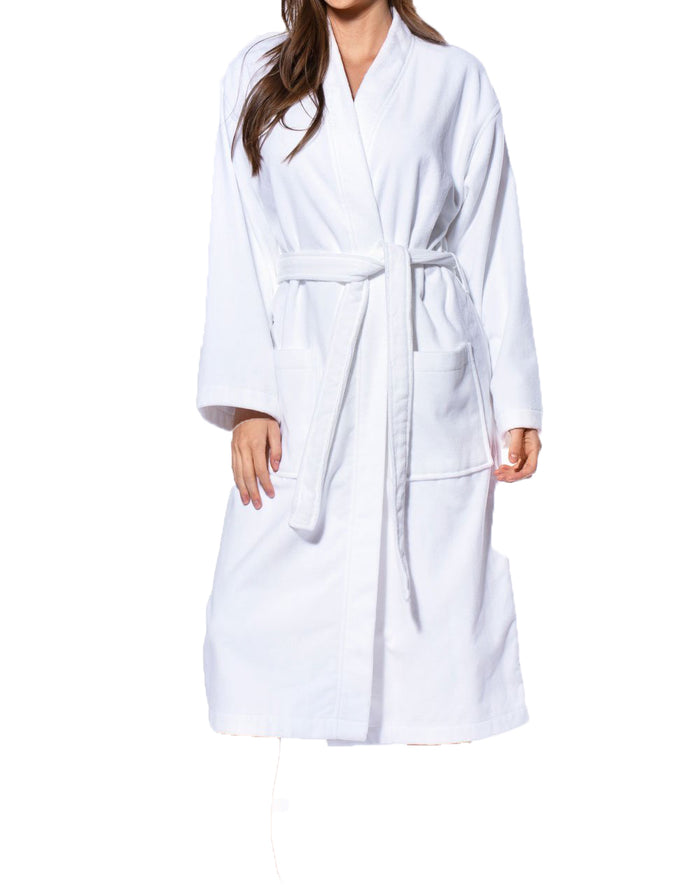 100% Turkish Cotton White Terry / Velour Kimono Bathrobe