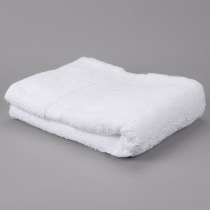 Oxford Miasma 100% Zero Twist Miasma Cotton Dobby Border White Bath Towel - 2 Dz