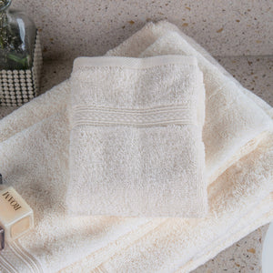 Oxford Vicenza 100% Super Long Staple Combed Cotton Dobby Border With Dobby Hemmed Ivory Bath Towel - 2 Dz