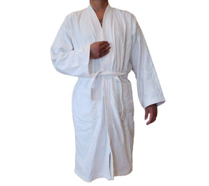 White Kimono Ringspun Cotton Velour Bathrobe