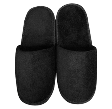 Black Closed Toe Adult Velour Slippers