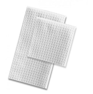 100% Ringspun Cotton White Terry Hand Towel With Back Pique Design - 25 Dz