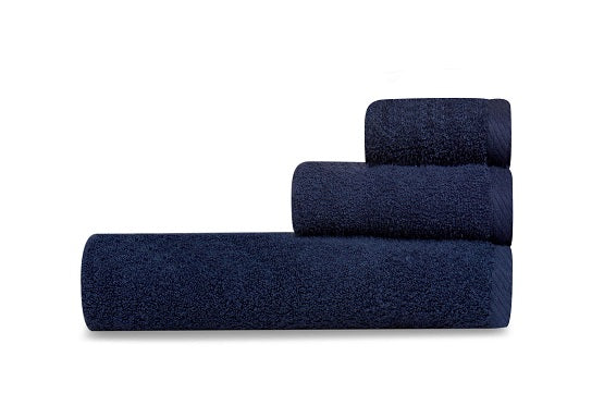 Oxford Bleach Guard Bath Ensemble 100% Ringspun Cotton With Dobby Borders Navy Washcloth - 25 Dz