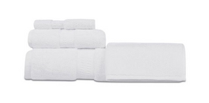 Oxford Reserve 100% 2 Ply Combed Cotton Dobby Border With Dobby Hemmed White Bath Sheet - 2 Dz