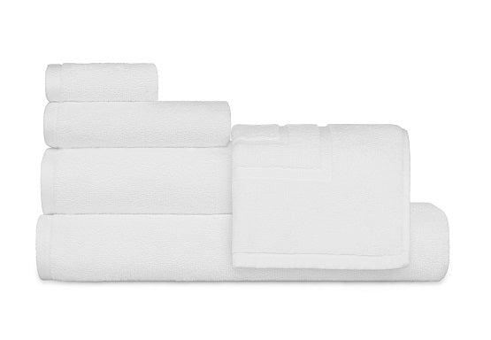 Oxford Signature 100% Ringspun Cotton With Piano Design Dobby Borders & Dobby Hemmed White Bath Towel - 3 Dz