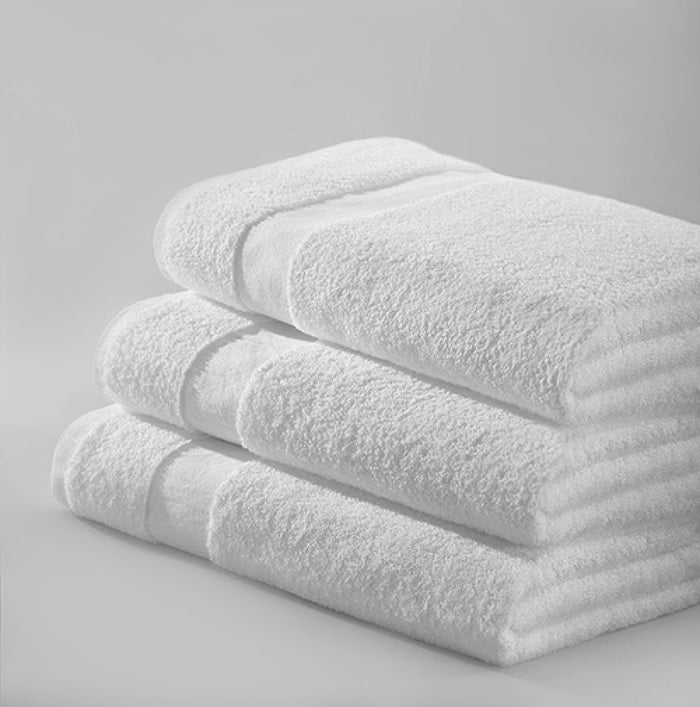Oxford Gold 86% Cotton 14% Polyester With 100% Cotton Loops Cam Border White Bath Towel - 5 Dz