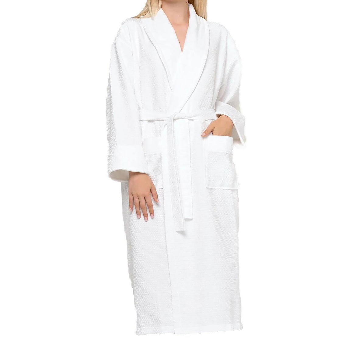 100% Turkish Cotton Waffle With Velour Shawl Robe