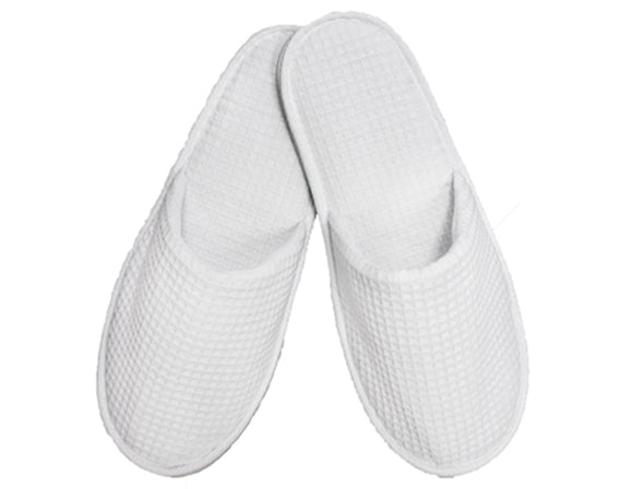 Wholesale Adult White Waffle Closed Toe Slippers