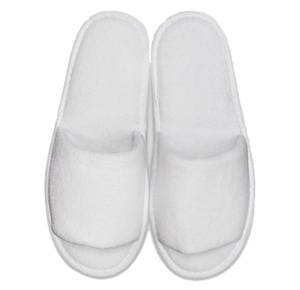 White Open Toe Adult Velour Slippers