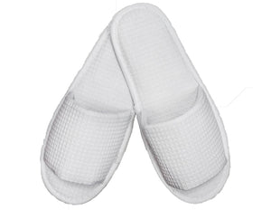 Wholesale Open Toe White Waffle Adult Slippers