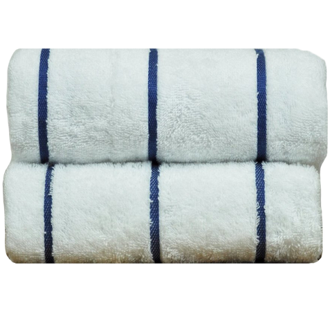 Wholesale Turkish Cotton White Terry Beach Towel with Navy Blue Stripes