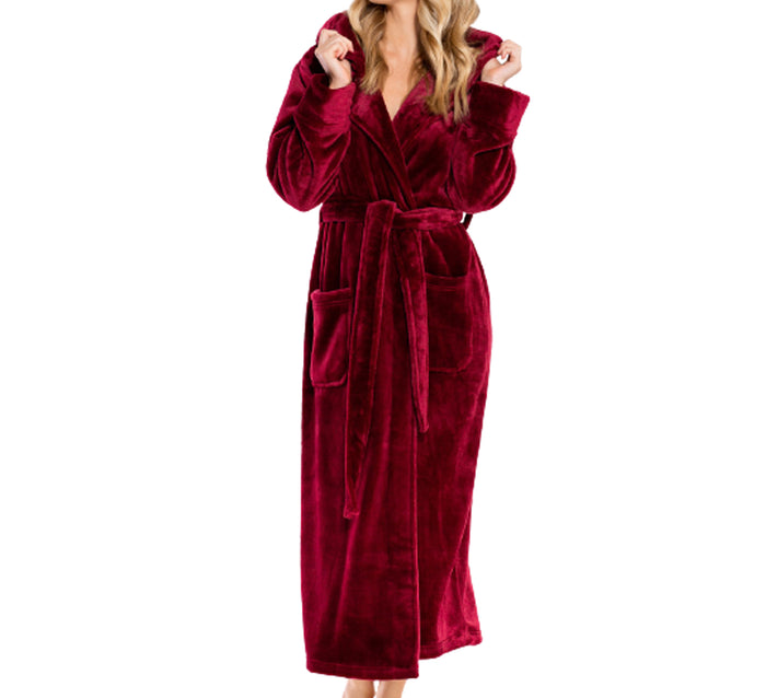 Ultra Soft Plush Hooded Women's Robe