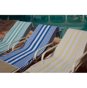 Oxford Tropical Stripe 100% Ringspun Cotton White Pool Towels - 2 Dz