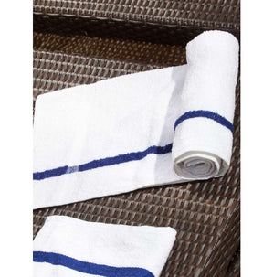 100% Cotton Oxford Bronze White Pool Towels With Blue Center Stripe - 10 Dz