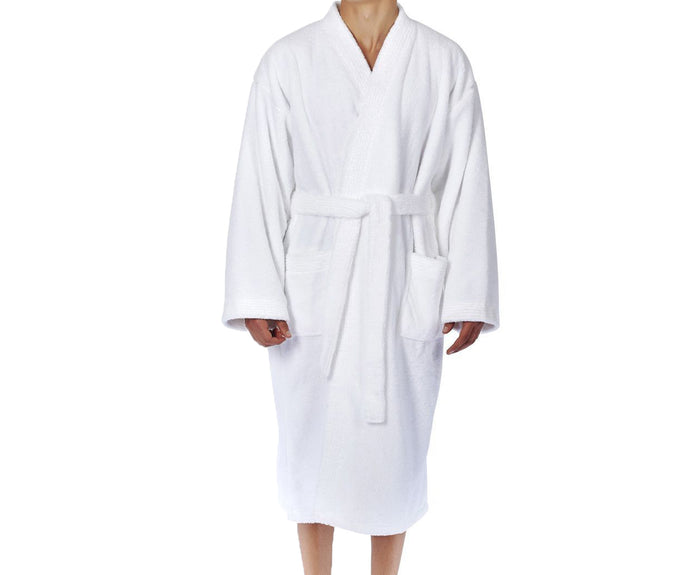 Double Layer Kimono White Cotton Bathrobe