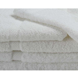 Oxford Imperiale 100% Ringspun Cotton Dobby Border & Dobby Edge White Bath Towel - 4 Dz