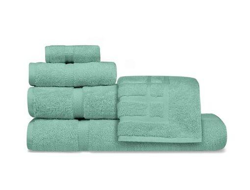 Oxford Imperiale 100% Ringspun Cotton Dobby Border & Dobby Edge Kashmir Green Bath Towel - 2 Dz