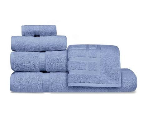 Oxford Imperiale 100% Ringspun Cotton Dobby Border & Dobby Edge Colonial Blue Washcloth - 25 Dz