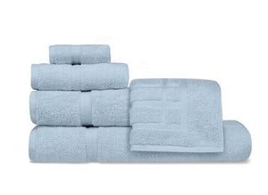 Oxford Imperiale 100% Ringspun Cotton Dobby Border & Dobby Edge Blue Mist Bath Towel - 2 Dz