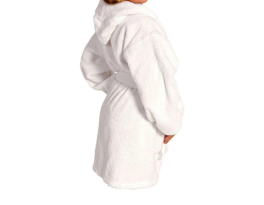 Microfiber Lined Hooded White Kids Robe
