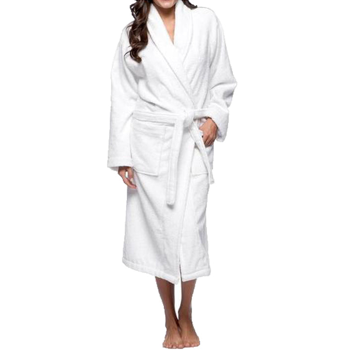 White Shawl Collar Ringspun Cotton Velour Bathrobe