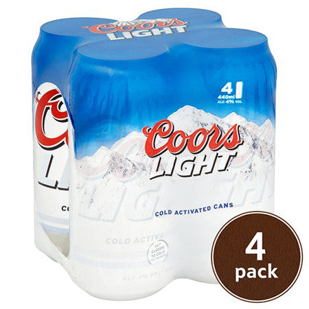 Coors Light Beer 4% Pack of 4