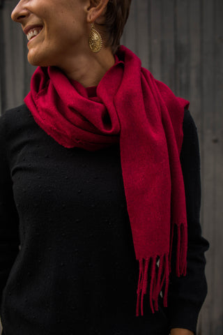 Woven scarf - scarlet