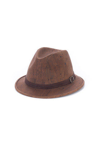 Fedora's Hat with Suede Strap in Brown