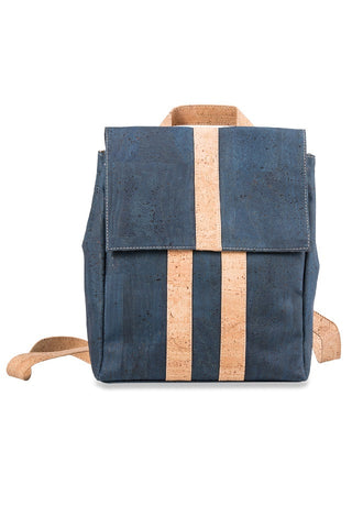 Dark Blue Backpack with Beige Strips