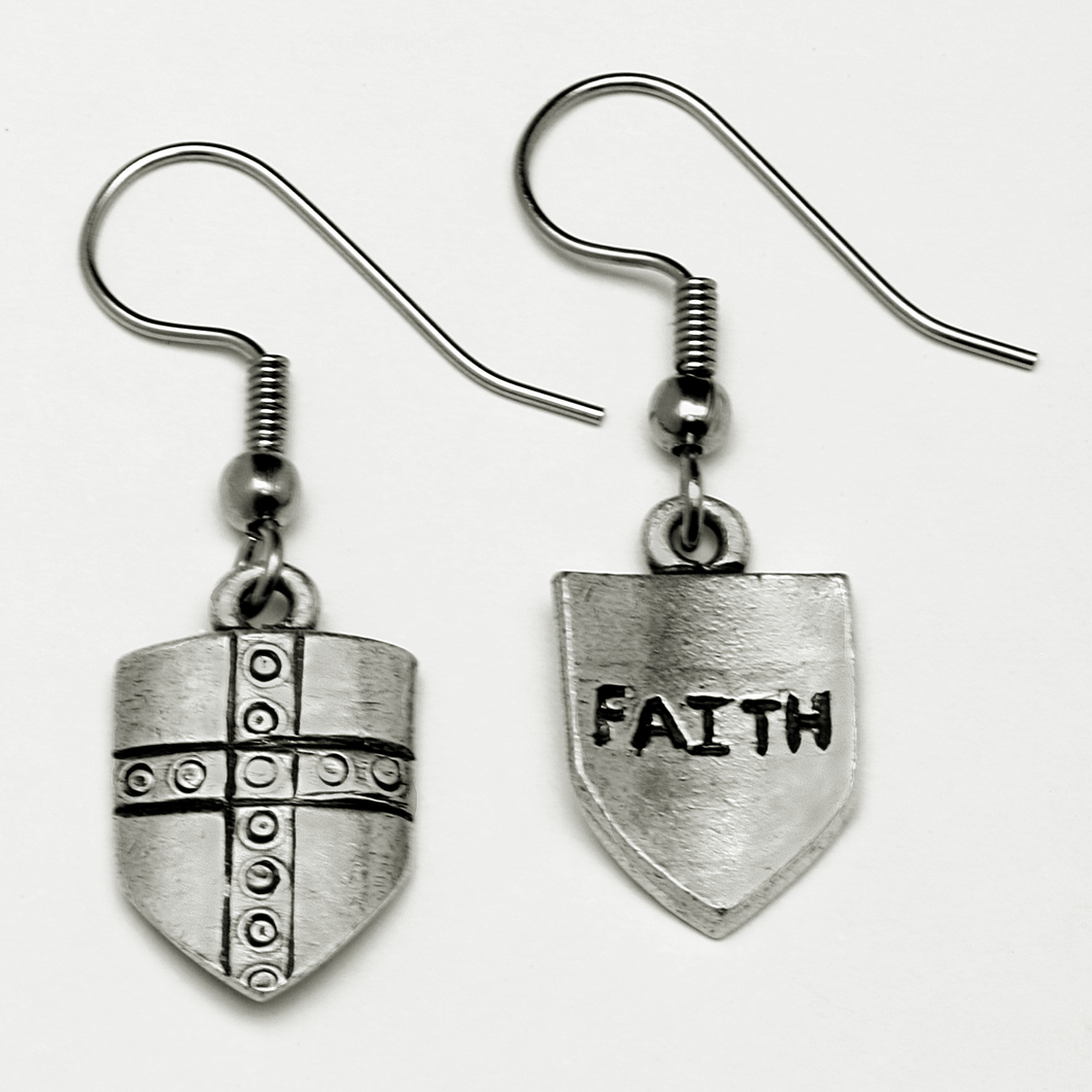 Armor of God Shield of Faith Earrings