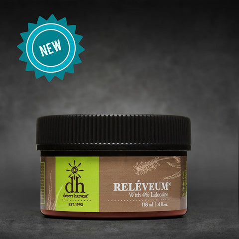 Desert Harvest Releveum Natural Pain Relief Skin Cream sold at SoulSource.com