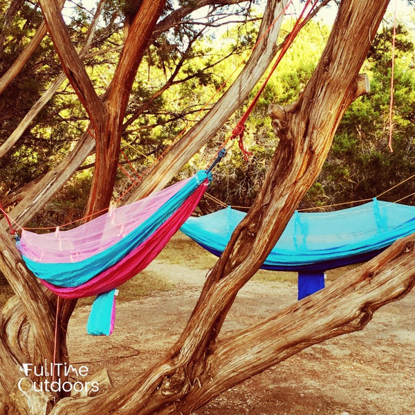 FullTime Outdoors Camping Hammocks Hanging in the Trees