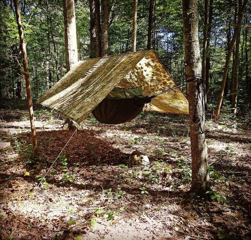Rectangular hammock tarps like this one provide slightly more protection than hex-cut tarps.
