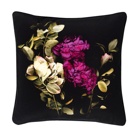 Midnight Scarlet Silk Cushion - Reflect and Repeat  - 1