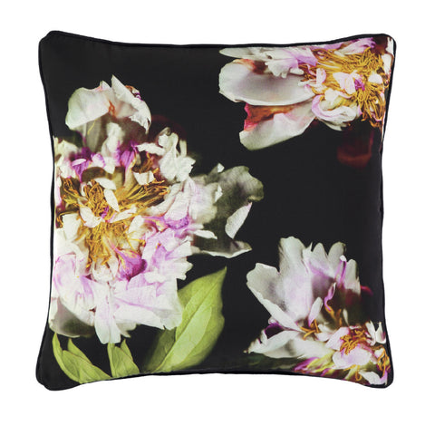Midnight Peony Silk Cushion