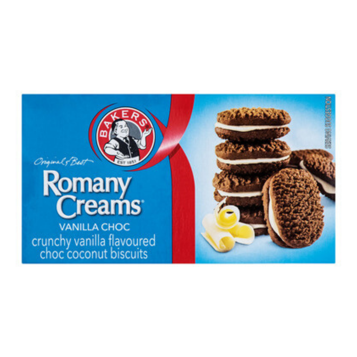 Bakers Romany Creams: Vanilla Choc (200 g) from South Africa - AubergineFoods.com
