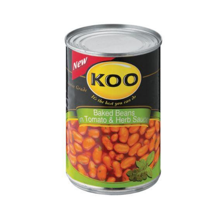 KOO Baked Beans-Tomato & Herb (410 g) from South Africa - AubergineFoods.com