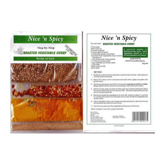 Nice 'n Spicy Vegetable Curry Mix (20 g) from South Africa - AubergineFoods.com