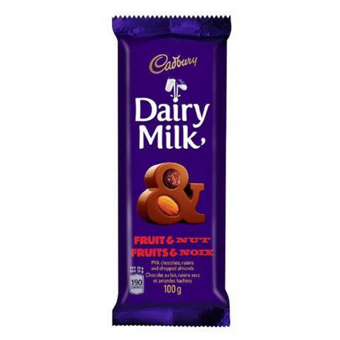 Cadbury Dairy Milk-Fruit & Nut (80 g) from South Africa - AubergineFoods.com